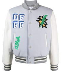 off-white graphic-print cotton bomber jacket - grey