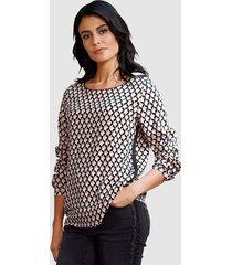 blouse alba moda zwart::wit::roze