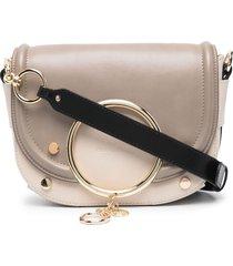see by chloé mara charm-embellished crossbody bag - neutrals