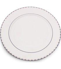 conjunto 6 pratos rasos de porcelana bone china blue silver wolff 27cm - alto relevo
