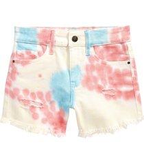 girl's treasure & bond kids' tie dye denim shorts, size 16 - yellow