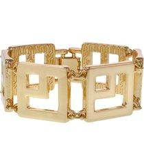 christian siriano new york gold tone square link clasp bracelet