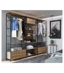roupeiro closet com mesa industrial artesano steel quadra vermont/preto