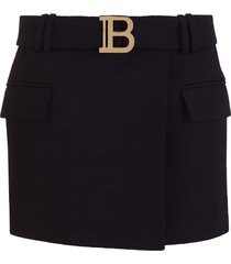 balmain b belted mini skirt