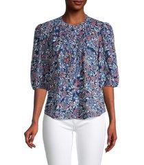 velvet women's floral-print button-front blouse - henna - size xs