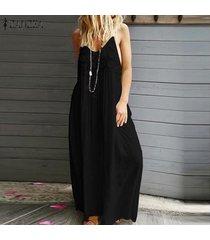 zanzea vestido largo de patchwork de encaje con correa de verano para mujer vestidos largos de cóctel -negro