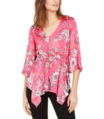 nine west floral-print drawstring-waist top
