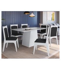 conjunto mesa com base e cadeiras mdf branco e preto lilies