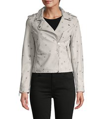 star-print faux leather jacket