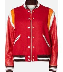 golden goose deluxe brand women's bomber jacket scarlett - red wool/jaguar - it 40/uk 8