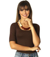 blusa feminina meia manga marrom decote redondo