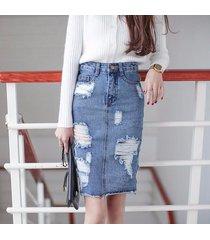 plus size denim skirt women 2017 autumn/winter vintage ripped denim