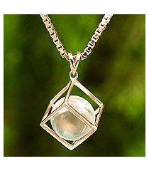 rose gold plated quartz pendant necklace, 'translucent raindrop' (thailand)