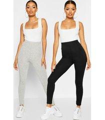 basic leggings met hoge brede taille (2 stuks), grijs