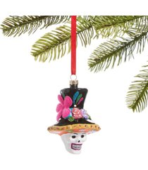 holiday lane day of the dead molded glass skull in colorful top hat ornament, created for macy's