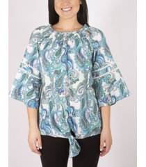 ny collection 3/4 sleeve printed peasant blouse with tie front