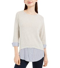 bcx juniors' striped faux-layered cuffed sweater