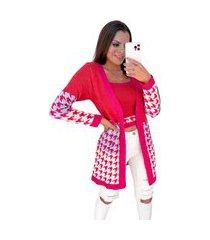 conjunto de trico pied poule multicolor pink