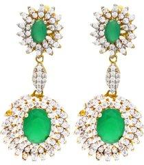 brinco diva esmeralda cravejado com cristais zircã´nias banhado a ouro 18k - verde - feminino - dafiti