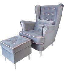 fotel uszak z podnóżkiem kario