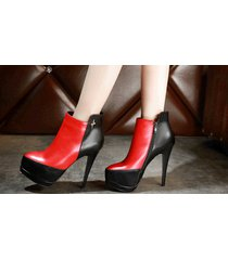 pb166 awesome spell color martin booties, genuine leather, size 4-8.5, red/black
