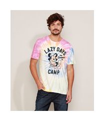 camiseta masculina mickey estampada tie dye manga curta gola careca multicor