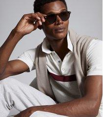 reiss christie - colour block polo shirt in grey melange, mens, size xxl