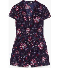 womens we have bud news floral button-down romper - navy