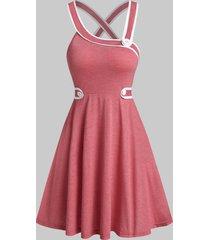 button asymmetric criss-cross back dress