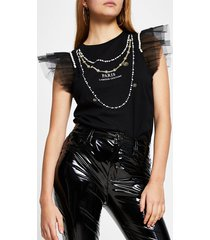 river island womens black short sleeve 'paris' necklace mesh tee
