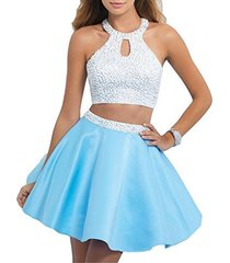 fanmu halter two pieces beading short prom dress homecoming dresses blue us 2...