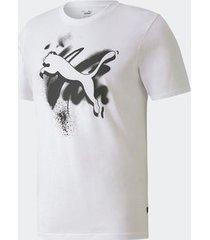 camiseta puma cat basic branca masculina
