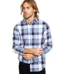 camisa azul tommy hilfiger slim fit oldport chk slim fit