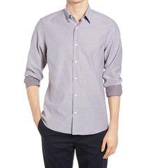 men's nordstrom men's shop tech-smart trim fit dobby button-up shirt, size 2xl - burgundy