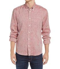 men's billy reid tuscumbia linen button-down shirt, size small - black
