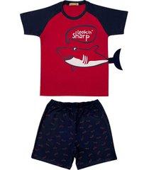conjunto pijama de tubarã£o douvelin vermelho - azul marinho/vermelho - menino - algodã£o - dafiti