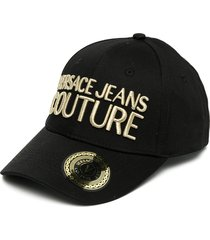 versace jeans couture embroidered logo cap - black