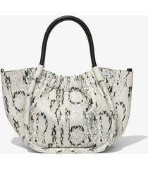 proenza schouler small snake embossed ruched crossbody tote optic white/black one size