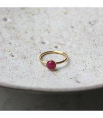 pierścionek z agatem fuksja