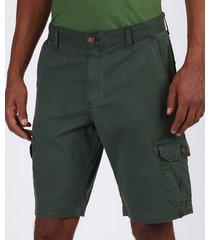 bermuda de sarja masculina cargo com bolsos verde