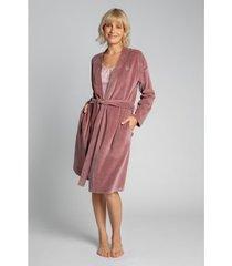 pyjama's / nachthemden lalupa la009 fluwelen badjas met een strik ceintuur - crêpe roze