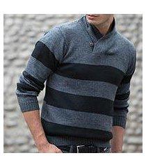 men's alpaca blend sweater, 'cortijo man in black' (peru)