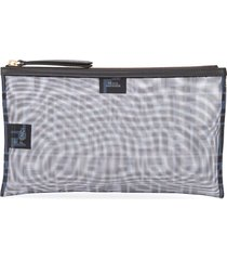 fendi logo mesh clutch bag - blue