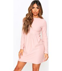 crew neck sweat smock dress, nude