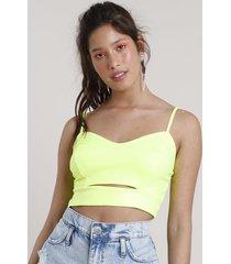 top cropped feminino com vazado alça fina decote v amarelo neon