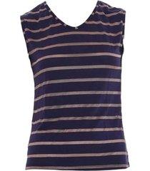 blusa dica de lingerie sem manga azul/dourado rs42 - kanui