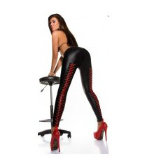 sexy wetlook leggings met veter zwart