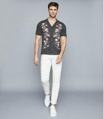 reiss hernandez - embroidered cuban collar shirt in steel, mens, size xxl