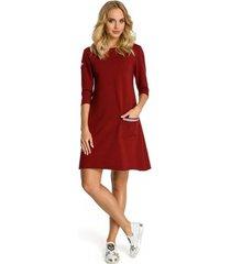 korte jurk moe m343 trapezejurk met streepdetail - kastanjebruin