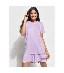 "t-shirt change your mindset"" manga curta decote careca mindset lilás"""